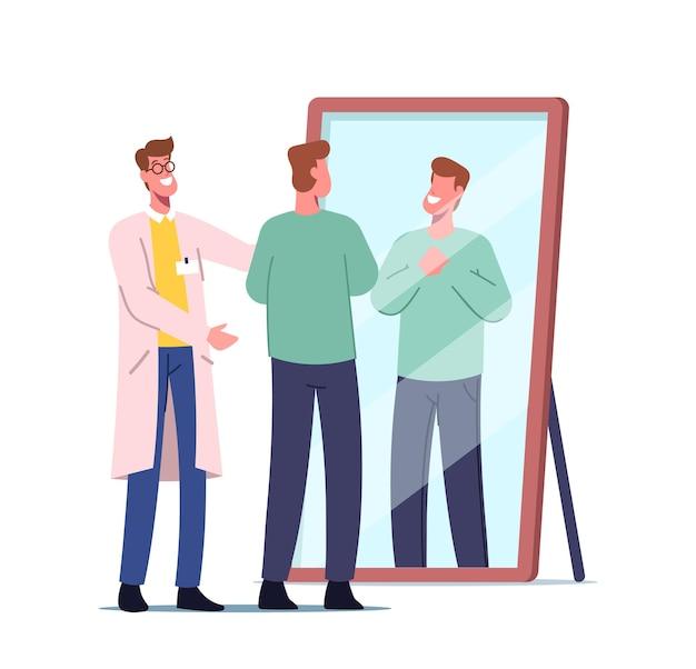 Довольный пациент смотрит в зеркало после процедуры трансплантации волос