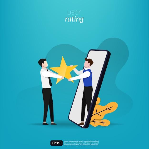 Довольная концепция обзора с человеком, дающим звездные оценки онлайн-иллюстрации