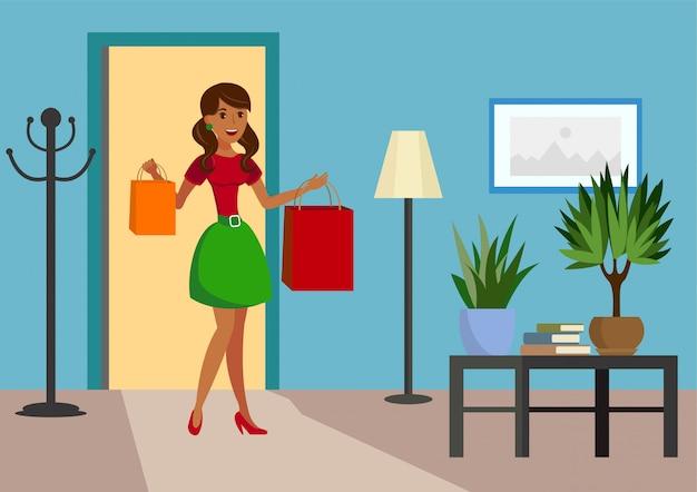 Satisfied shopper at home flat vector illustration