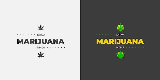 Sativa 및 indica 의료용 마리화나 로고 디자인. 벡터 상징 대마초, 흰색과 검은색 배경에 푸른 잔디. 유기 cbd 및 thc 그래픽 레이블 템플릿입니다.