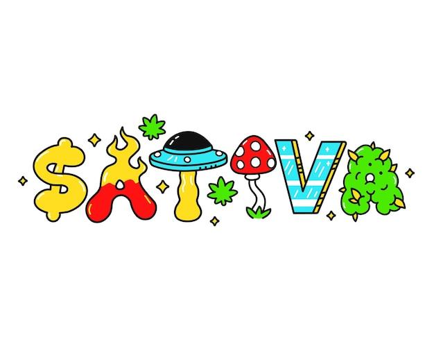 Sativa 견적, trippy 환각 스타일 편지입니다. 벡터 손으로 그린 낙서 만화 그림입니다. sativa 견적.재미있는 trippy 편지, 티셔츠, 포스터 컨셉에 대한 산성 패션 인쇄