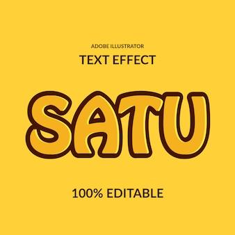 Эффект симпатичного шрифта satu, редактируемый с желтым цветом для детей, детей, дружелюбных и радостных