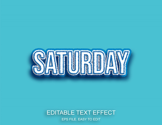 Saturday blue lettering