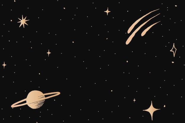 검은 배경에 토성 갤럭시 골드 별이 빛나는 하늘 테두리