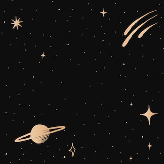 Saturn galaxy gold vector starry sky border on black background