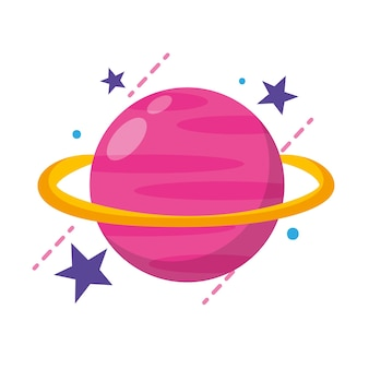 Saturn icon cartoon planet isolated over white background. vector illustration