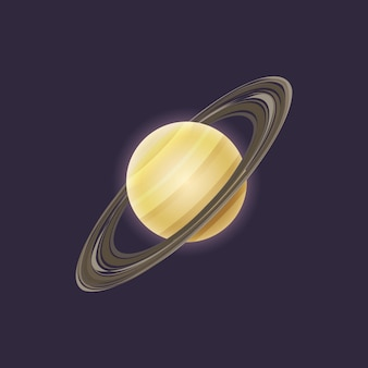 Saturn planet in deep space icon
