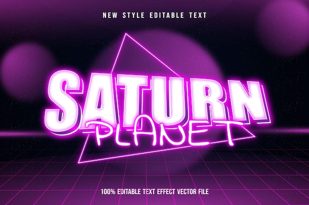 Saturn planet editable text effect modern neon pink style