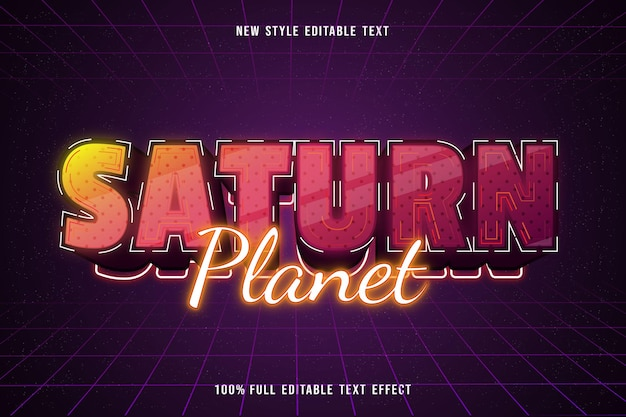 Saturn planet editable text effect modern neon style
