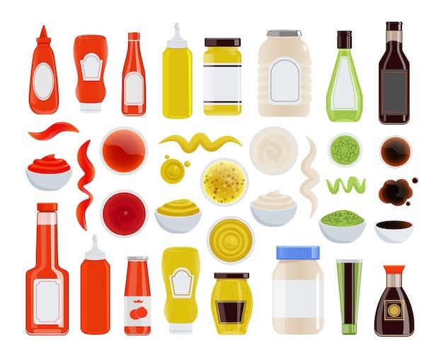 ソースアイコン。ケチャップ、マヨネーズ、マスタード、醤油、ガラスまたはペットボトル、チューブ、ボウル。調味料の波状のトレースと汚れのアイコンが白の背景に設定。食材イラスト