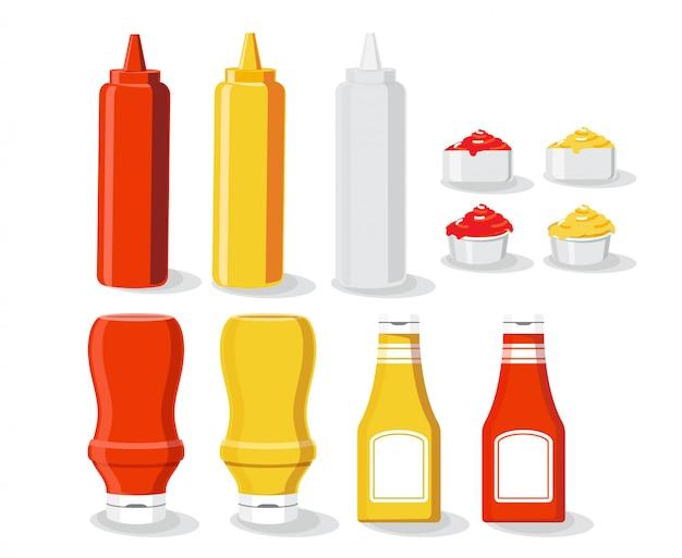 Sauce mock up set illustration isolated white background