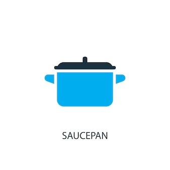 鍋のアイコン。ロゴ要素のイラスト。 2色コレクションの鍋シンボルデザイン。シンプルな鍋のコンセプト。 webおよびモバイルで使用できます。