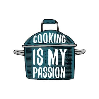 Кастрюля или посуда, вещи для оформления меню.