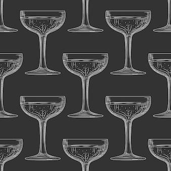 Saucer glass seamless pattern