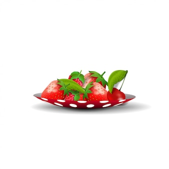 Saucer with strawberries isolated