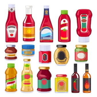Sauces and dressings bottles set.