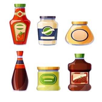 Sauces and dressings in glass bottles