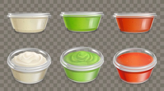 Sauces in plastic containers realistic vector set