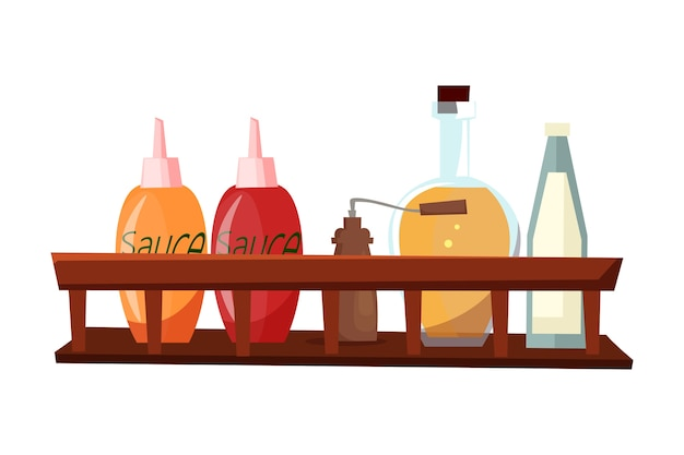 Sauces and spices, different cooking ingredients on wooden shelf.