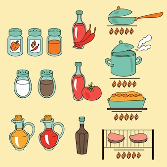 Sauces and spices icon set.