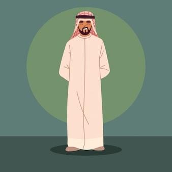 Thobe를 입고 사우디 아랍 남자
