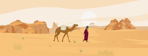 ラクダと砂の岩とベドウィンとサウジアラビアの砂漠の風景 Premiumベクター