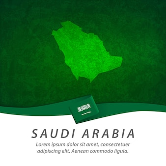Saudi arabia flag with central map