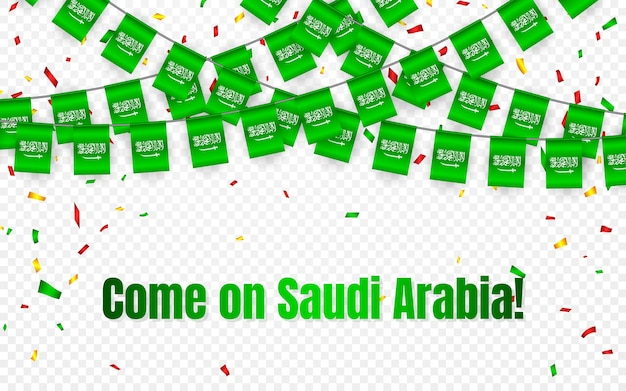 Saudi arabia garland flag with confetti on transparent background, hang bunting for celebration template banner,