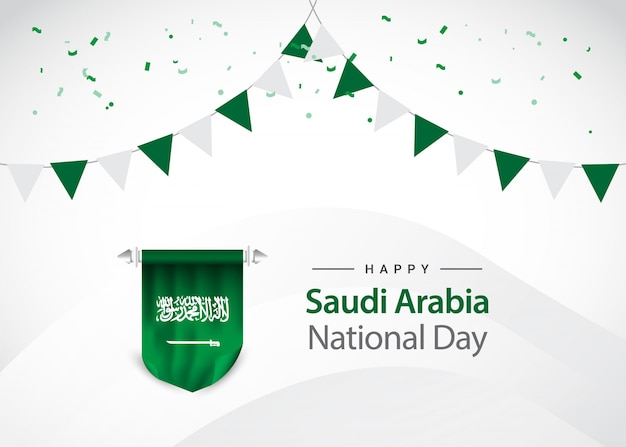 Saudi arabia independence day, greeting card template