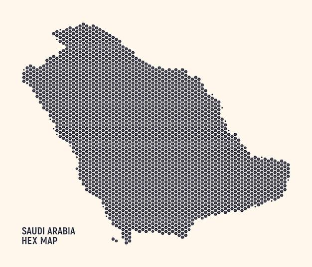 Saudi arabia kingdom map hexagonal halftone texture on light background