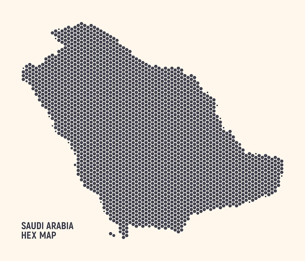 サウジアラビア王国地図明るい背景に六角形のハーフトーンテクスチャ