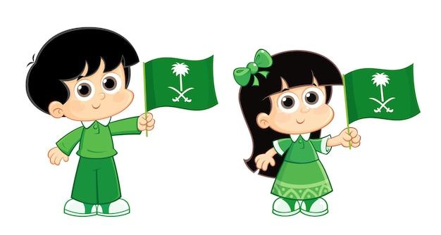 사우디아라비아 ksa 국경일 축하 소년과 소녀가 깃발을 들고 있다