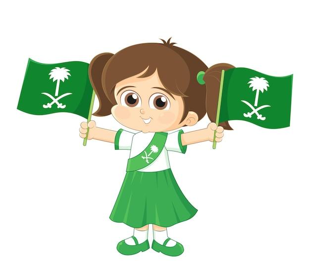 사우디 아라비아 ksa 국경일 축하 소녀가 깃발 로고를 들고 있다