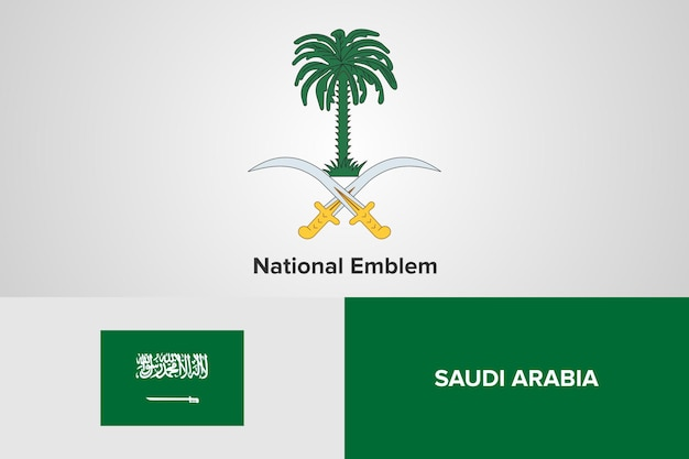 Saudi arabia national emblem flag template