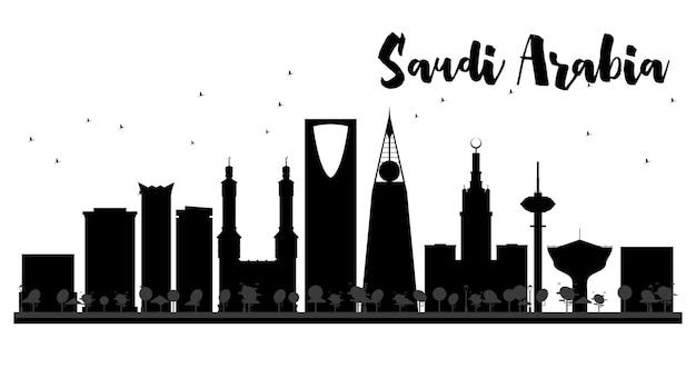 사우디 아라비아 스카이 라인 흑백 실루엣입니다. 벡터 일러스트 레이 션. 관광 프레젠테이션, 배너, 현수막 또는 웹 사이트를 위한 단순한 평면 개념입니다. 랜드마크가 있는 도시 풍경