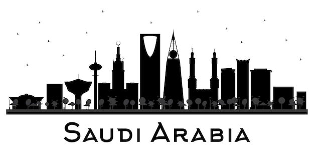 Saudi arabia skyline black and white silhouette
