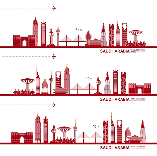 Saudi arabia travel destination   illustration.