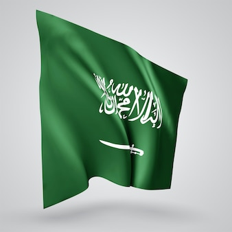 Saudi arabia, vector flag with waves and bends waving in the wind on a white background.