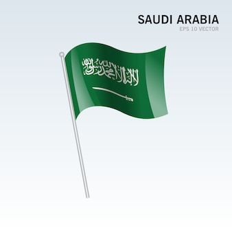 Saudi arabia waving flag isolated on gray background