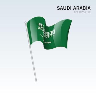 Saudi arabia waving flag isolated on gray