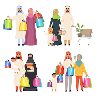 Saudi family, market arabic male and female characters shiopping holding bags in hands characters
