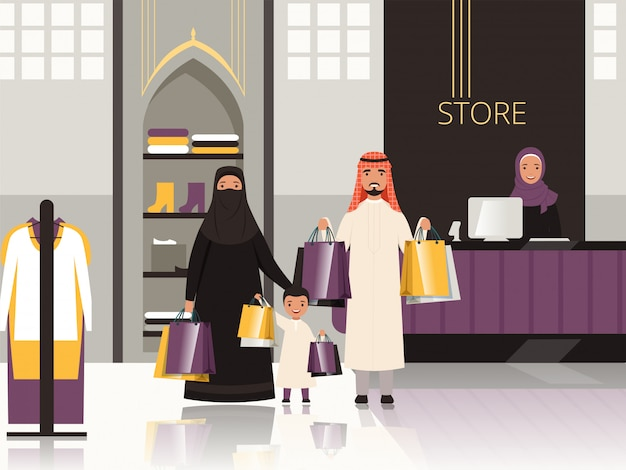 Saudi in market. arabic family checkout in grocery store shop or supermarket pay money for foods cartoon
