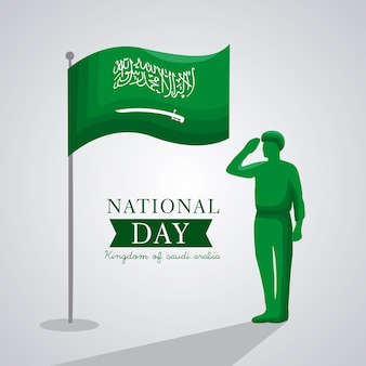 Saudi national day card with flag and soldier