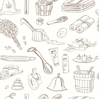 Sauna accessories doodle seamless pattern.