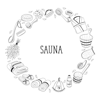 Sauna accessories sketches in  circle shape.
