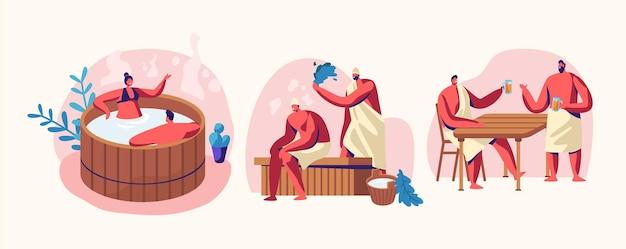 사우나 및 스파 물 절차. 휴식, 바디 케어 요법, 나무 욕조에 있는 커플, 빗자루와 함께 한증실의 벤치에 앉아 있는 남자들, 곰을 마시는 것. 웰빙, 위생, 만화 평면 벡터 일러스트 레이 션