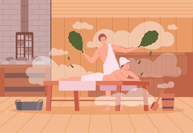 사우나 배경입니다. 스파는 사우나 목욕 캐릭터 벡터 만화 삽화에서 따뜻한 치료를 받는 사람들의 뜨거운 증기를 풀어줍니다. 스파 및 사우나 스팀, 나무로 된 이완 요법