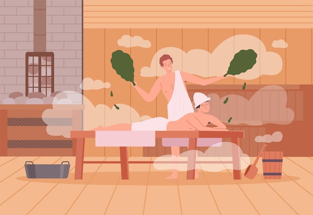 Sauna background. spa relax warm therapy people hot steam in sauna bathing characters vector cartoon illustration. spa and sauna steam, wooden relaxation therapy