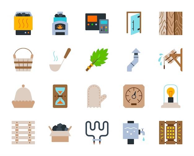 Sauna equipment bathhouse spa steam room flat icons set.