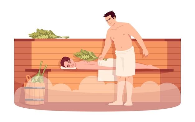 사우나 라운지 세미 rgb 컬러 일러스트. 소녀는 나무 난로 선반에 긴장. 목욕 빗자루 마사지 여자 친구와 남자 친구. 흰색 바탕에 남자와 여자 만화 캐릭터